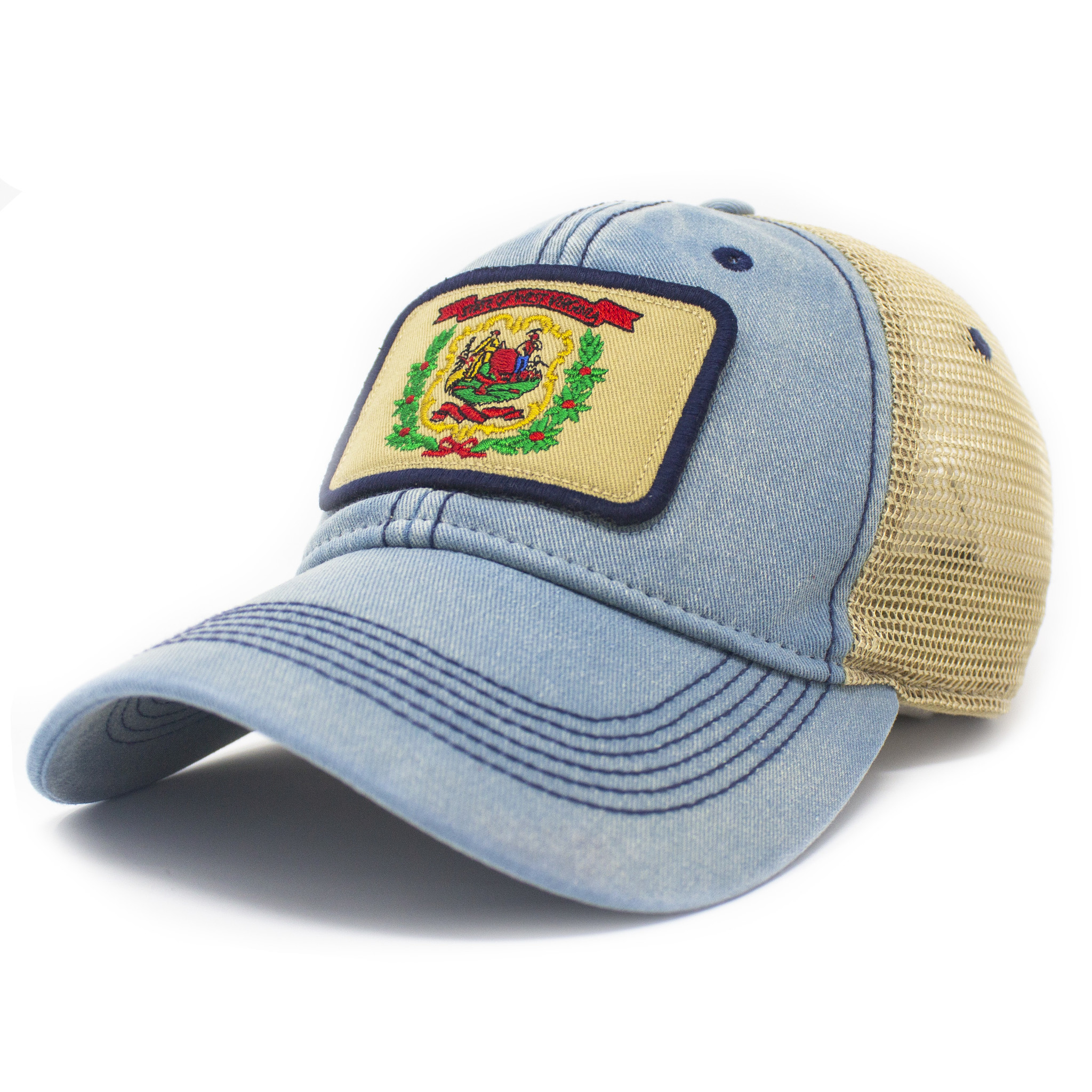 West Virginia Flag Trucker Hat, Americana Blue-1