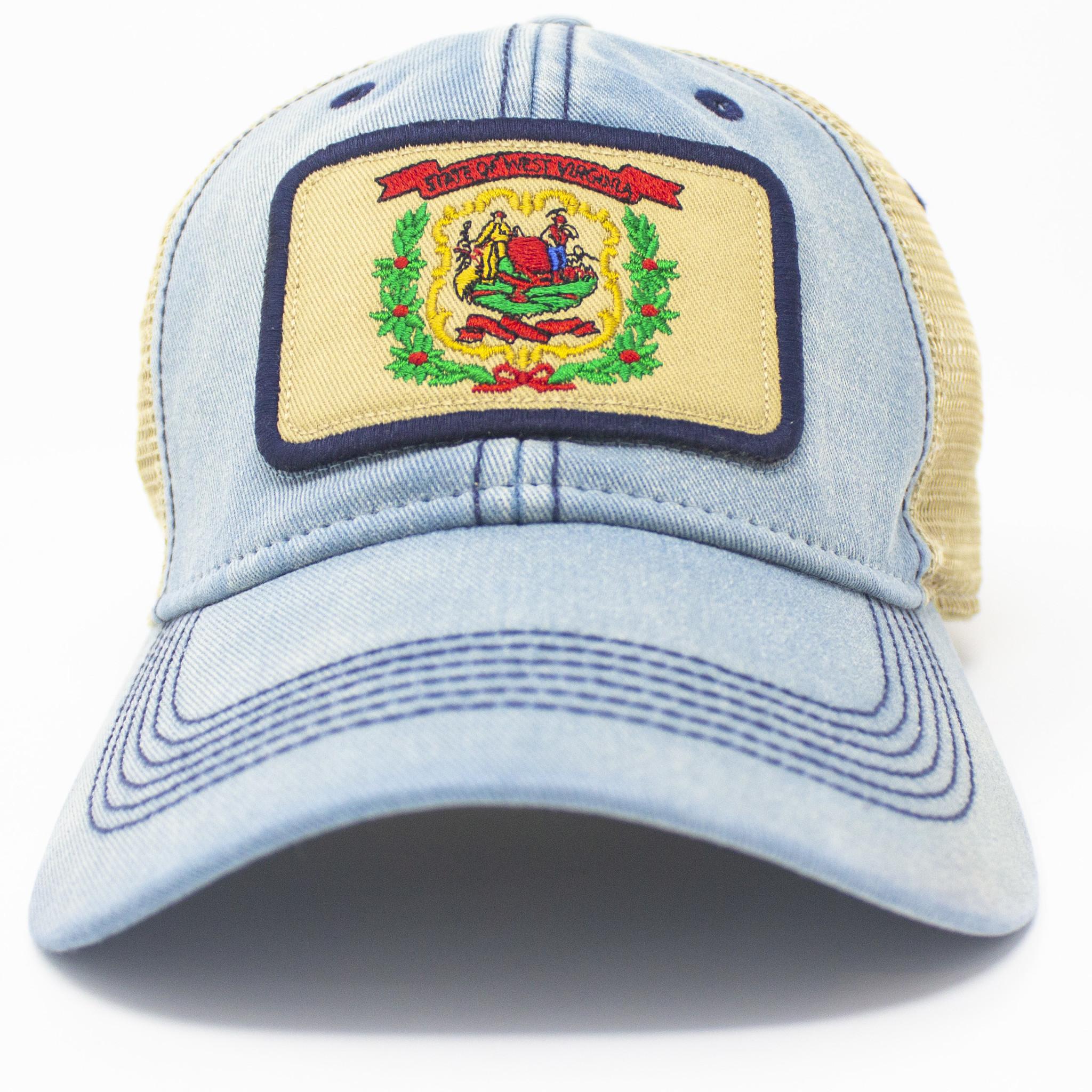 West Virginia Flag Trucker Hat, Americana Blue-3
