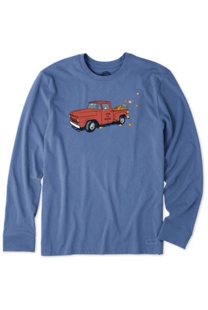 M's Fall Leaves Truck Long Sleeve Crusher , Vintage Blue
