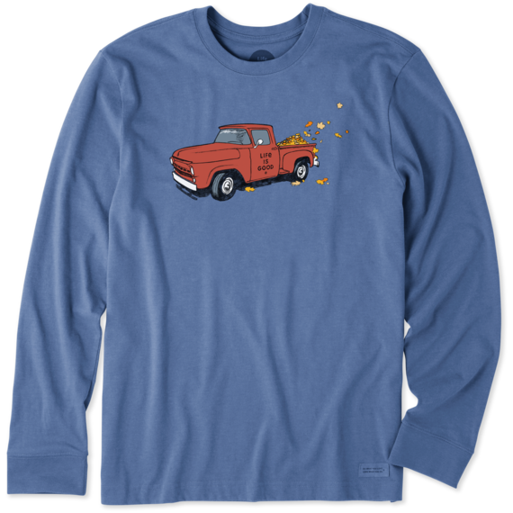 M's Fall Leaves Truck Long Sleeve Crusher , Vintage Blue-1