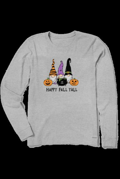 W's Happy Fall Y'all Long Sleeve Crusher Tee, Heather Grey