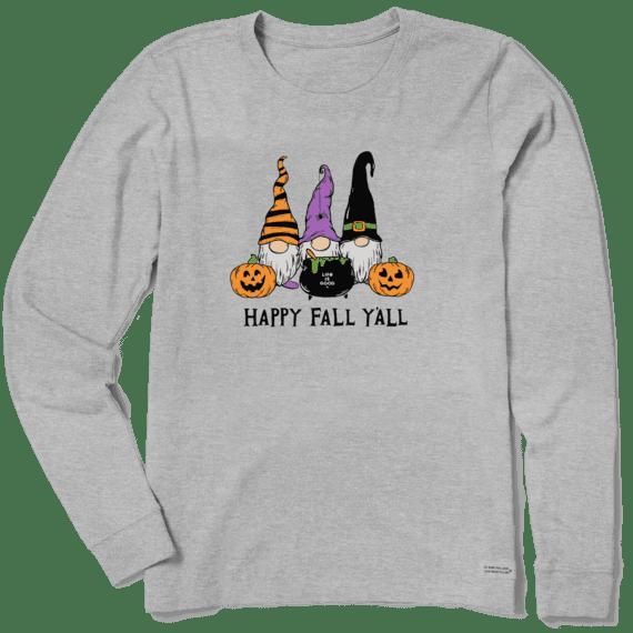 W's Happy Fall Y'all Long Sleeve Crusher Tee, Heather Grey-1