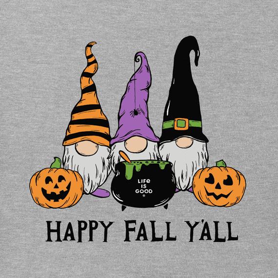 W's Happy Fall Y'all Long Sleeve Crusher Tee, Heather Grey-2