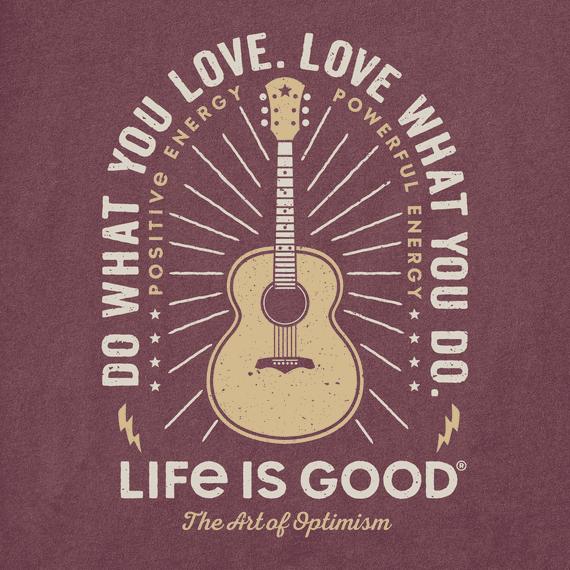 M's Do What You Love Guitar Long Sleeve Crusher Tee, Mahogany Brown-3