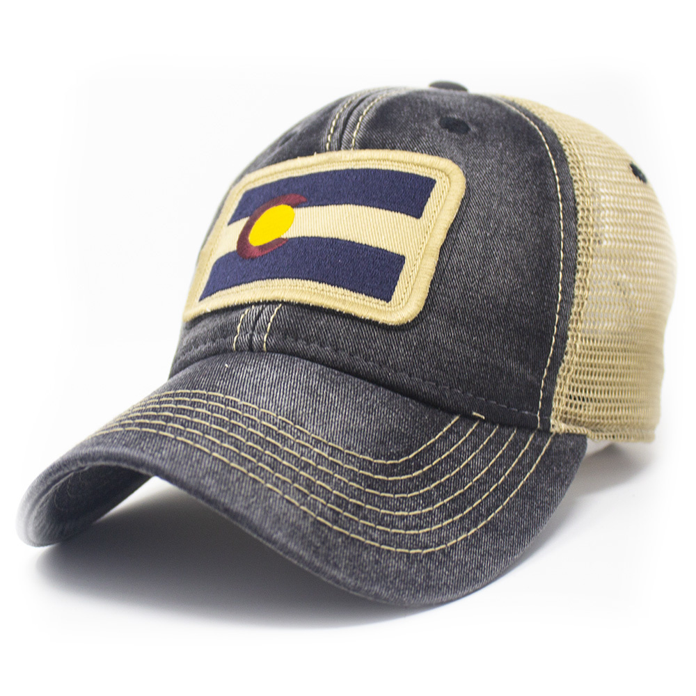 Colorado Flag Patch Trucker Hat, Black-1