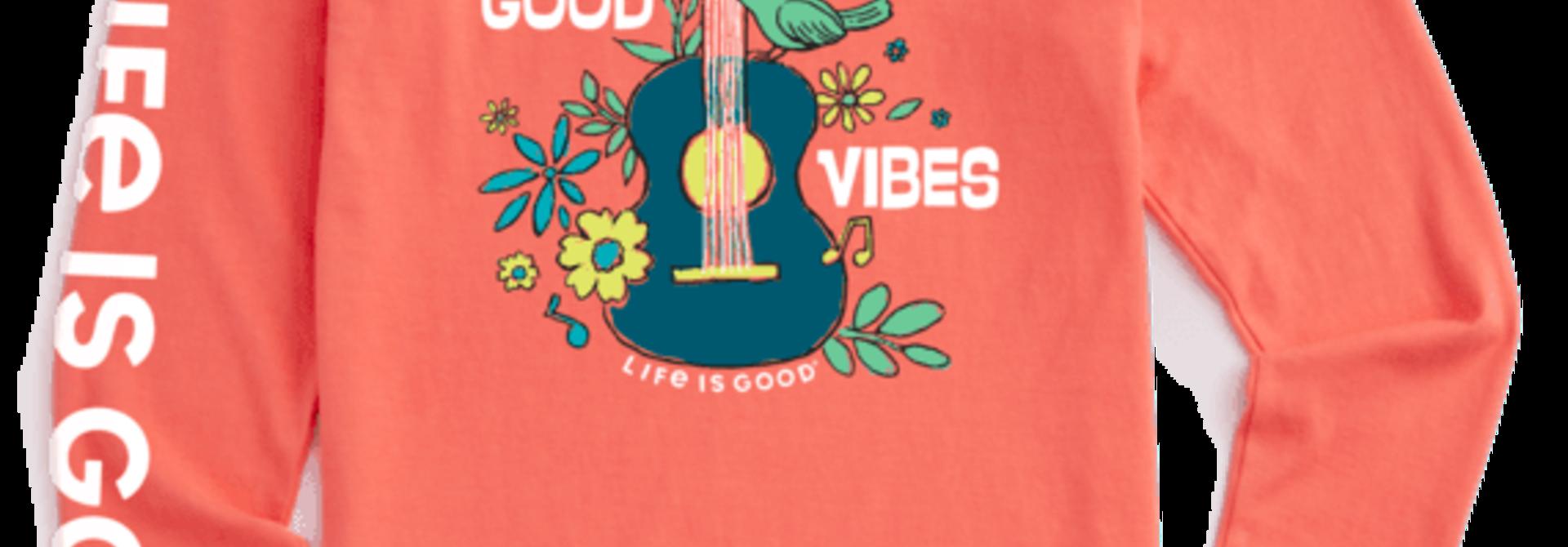 W's Good Vibes Guitar Crusher-Lite Long Sleeve Crew, Mango Orange