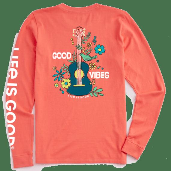 W's Good Vibes Guitar Crusher-Lite Long Sleeve Crew, Mango Orange-1