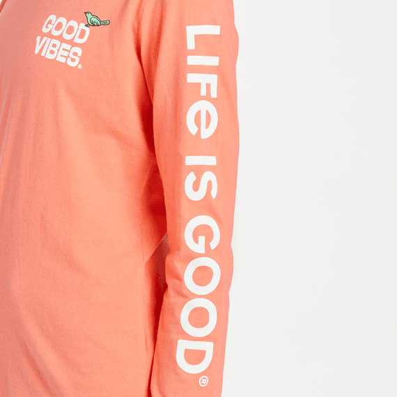 W's Good Vibes Guitar Crusher-Lite Long Sleeve Crew, Mango Orange-3
