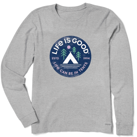 W's In Tents 94 Crusher-Lite Long Sleeve Crew, Heather Gray-1