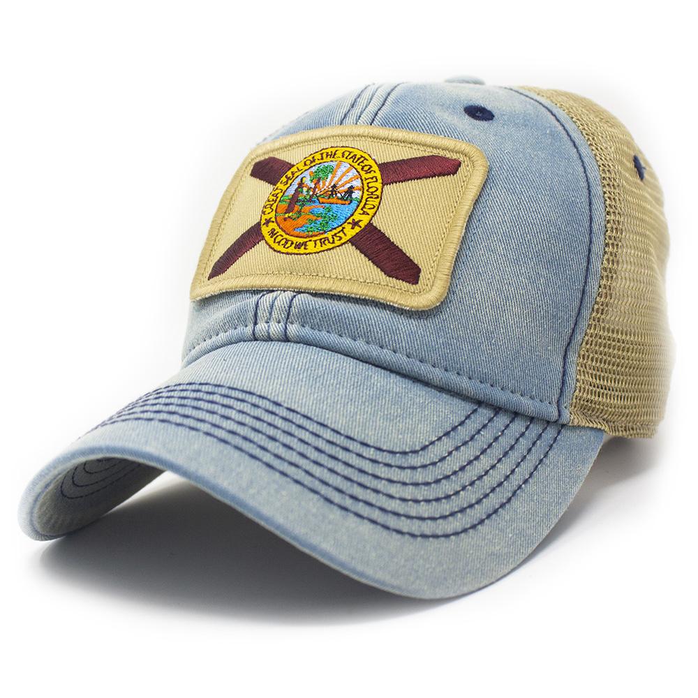 Florida State Flag Trucker Hat, Americana Blue-1