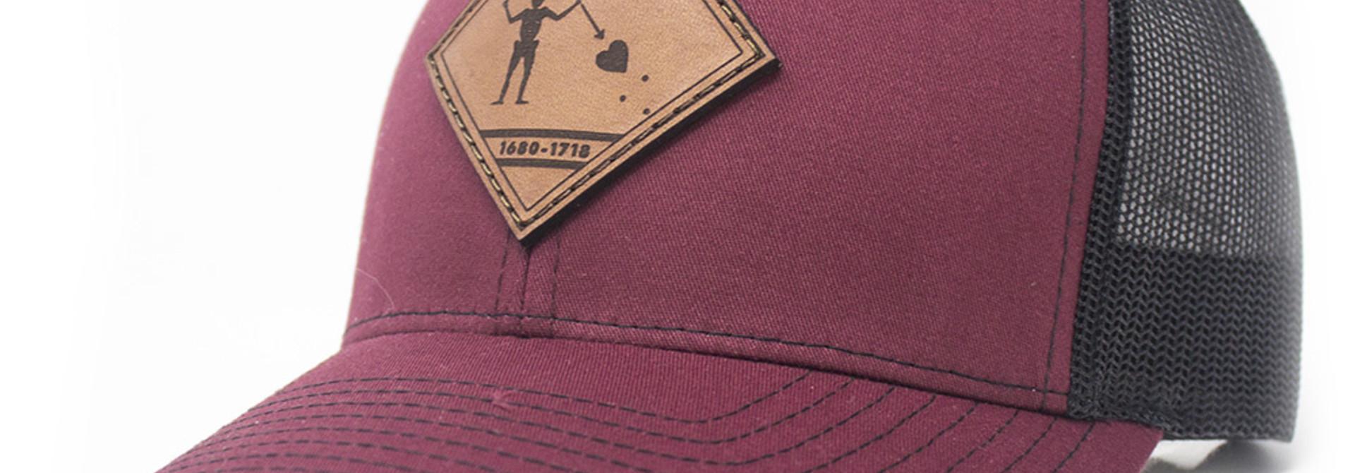 Blackbeard Leather Patch Lo Pro Trucker Hat, Cardinal and Black