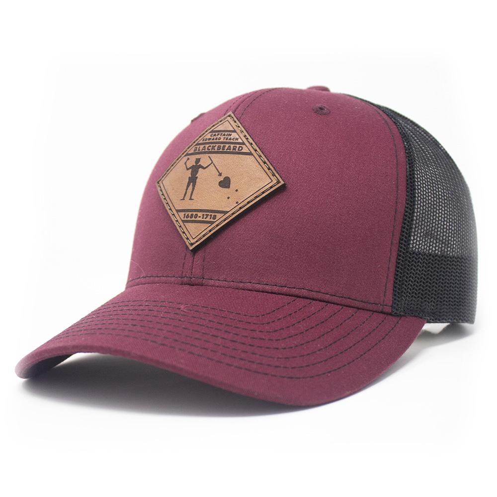 Blackbeard Leather Patch Lo Pro Trucker Hat, Cardinal and Black-1