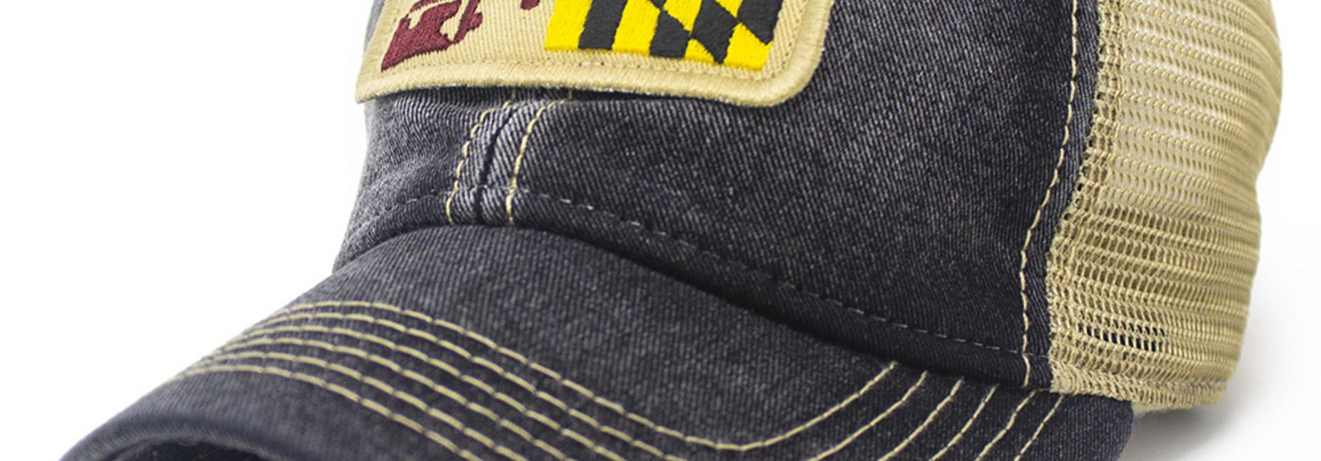 Maryland Flag Trucker Hat, Black