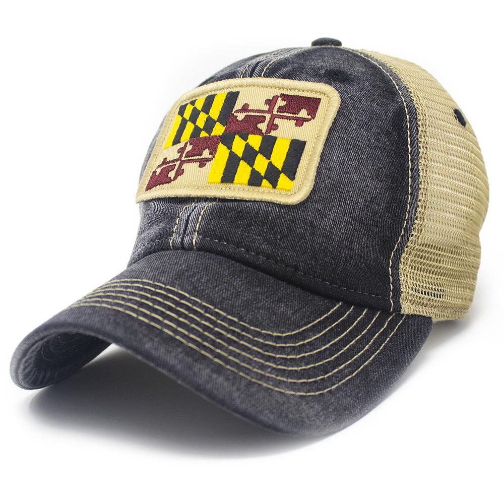 Maryland Flag Trucker Hat, Black-1