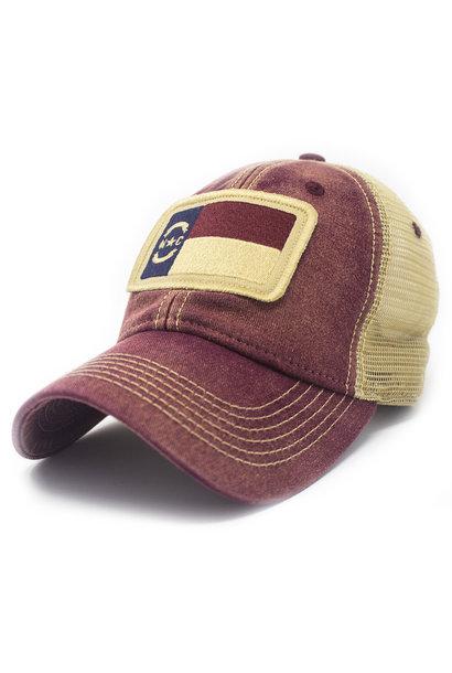 NC Flag Trucker Hat, Brick Red