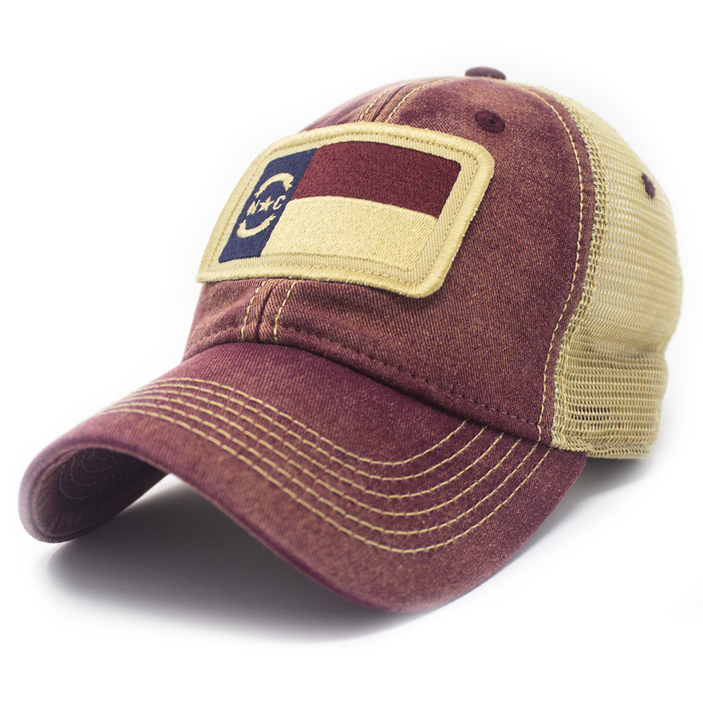 NC Flag Trucker Hat, Brick Red-1