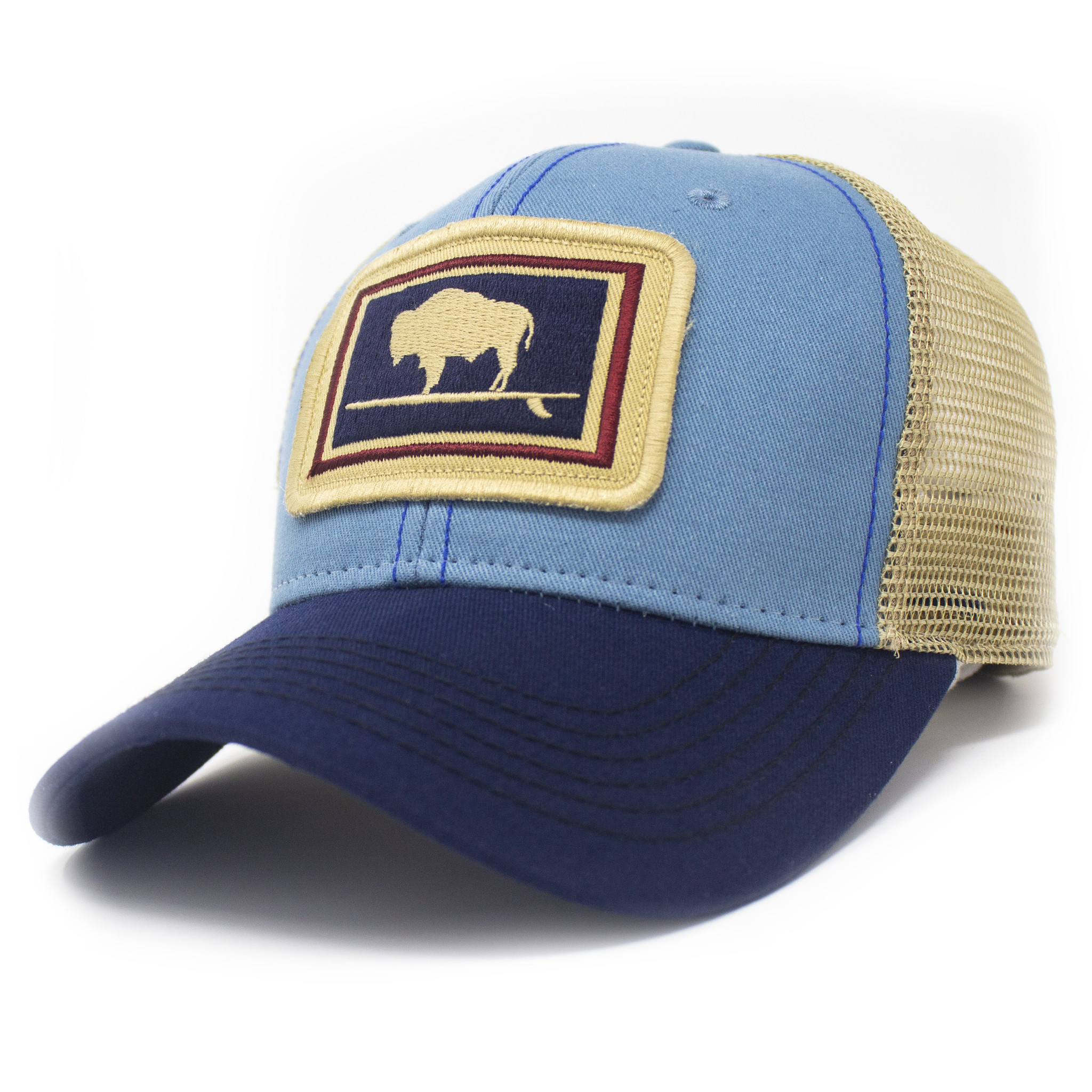 Surfing Buffalo Everyday Trucker Hat Structured, Blue-1