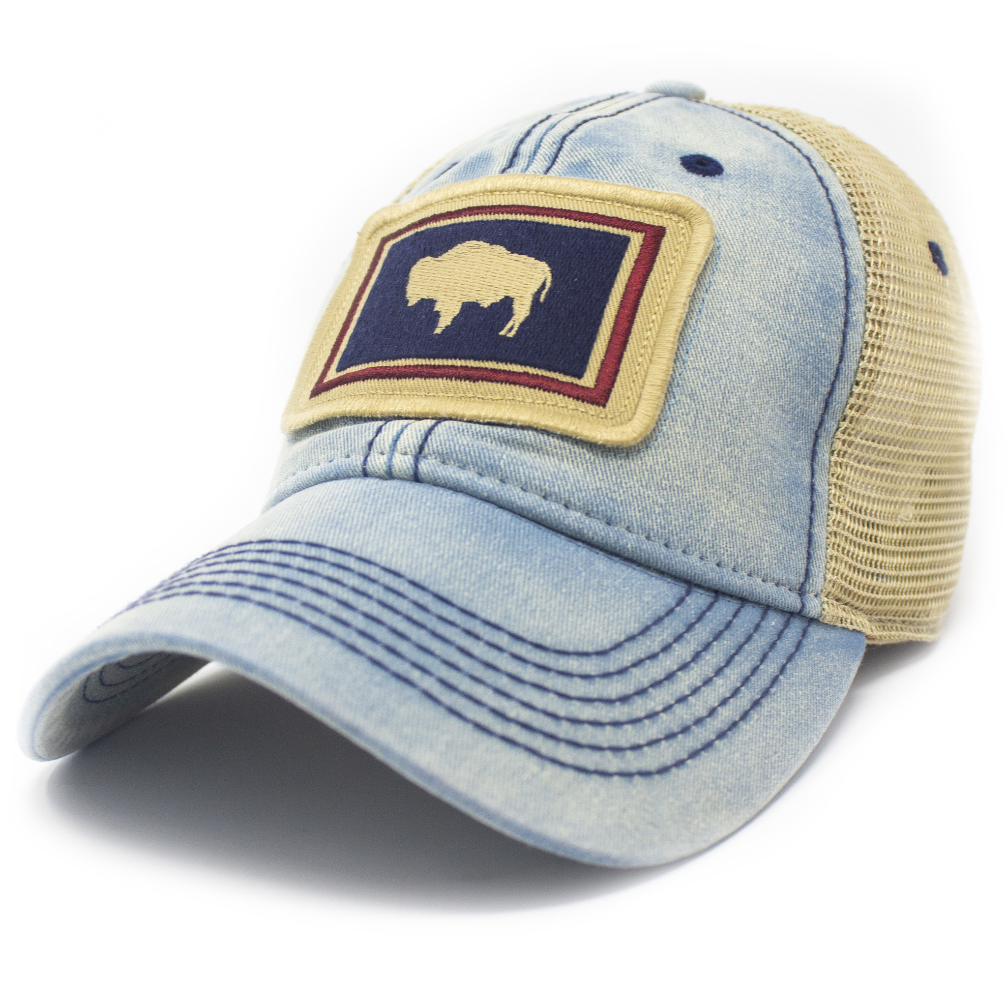Wyoming Flag Patch Trucker Hat, Americana Blue-1