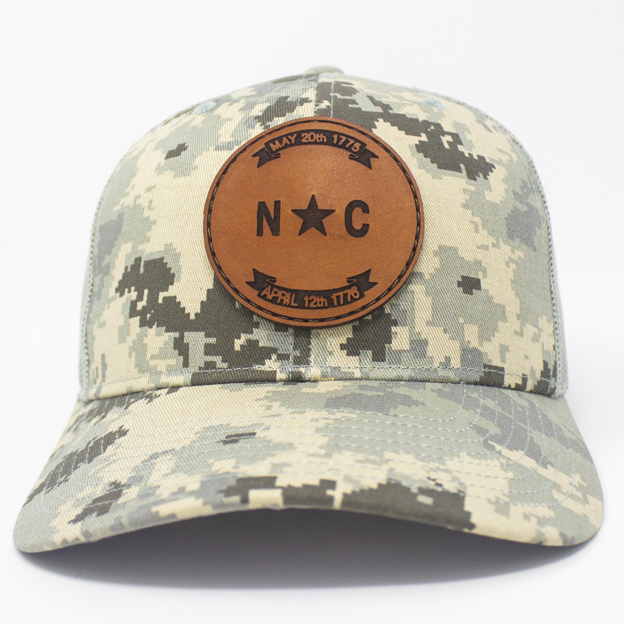 North Carolina Flag Patch Trucker Hat Military Digital Camo/Light Green-3