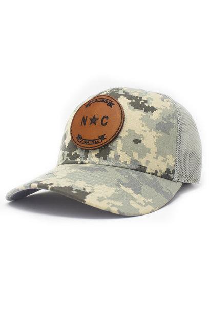 North Carolina Flag Patch Trucker Hat Military Digital Camo/Light Green