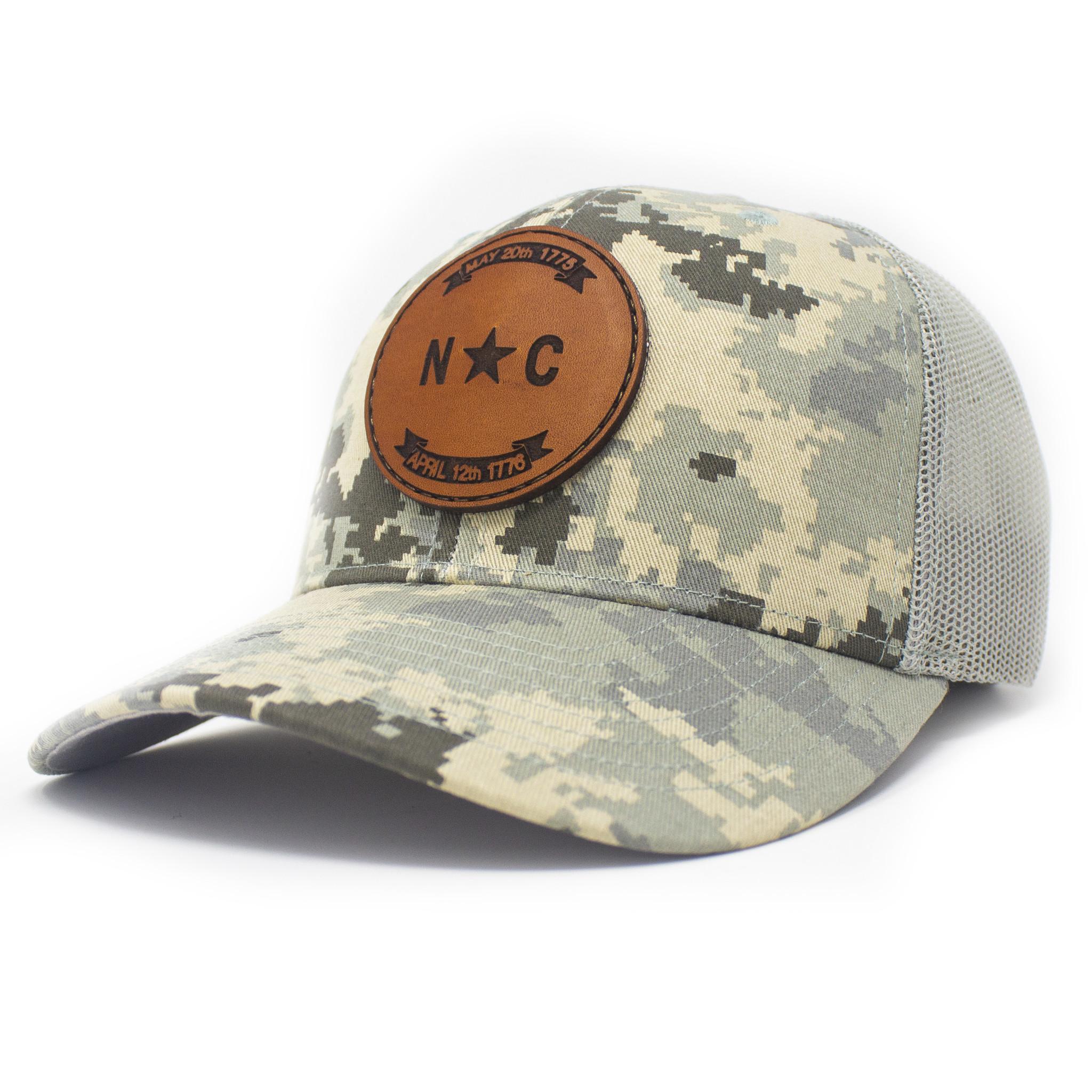 North Carolina Flag Patch Trucker Hat Military Digital Camo/Light Green-1