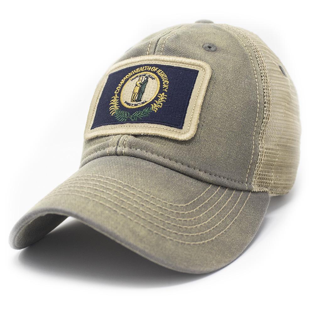 Kentucky Flag Trucker Hat, Drifter Gray-1