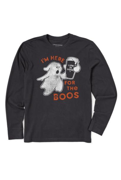 M's Here for the Boos Long Sleeve Crusher Tee, Jet Black