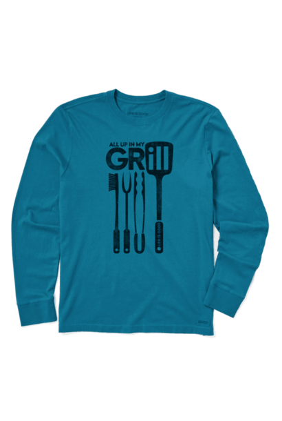 M Long Sleeve Crusher Tee All Up In My Grill, Persian Blue