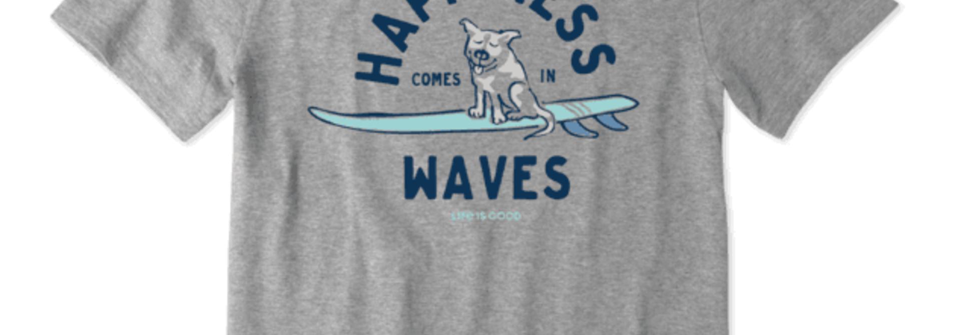 M's Surfer Dog Happiness Crusher-Lite Tee, Heather Gray