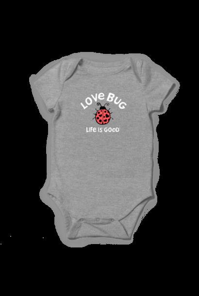 Kid's Baby Love Crusher Bodysuit, Heather Gray