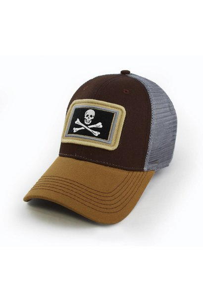 Calico Jack Jolly Roger Flag, Structured Hat, Timber Brown
