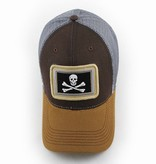 S.L. Revival Co. Calico Jack Jolly Roger Flag, Structured Hat, Timber Brown