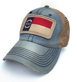 S.L. Revival Co. NC Flag Trucker Hat, Americana Blue
