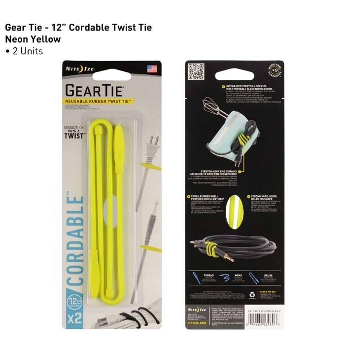 Nite Ize Gear Tie 12in 2 Pack, Neon Yellow