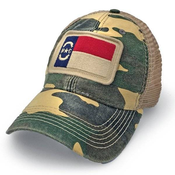 38a262617bf North Carolina Flag Patch Trucker Hat