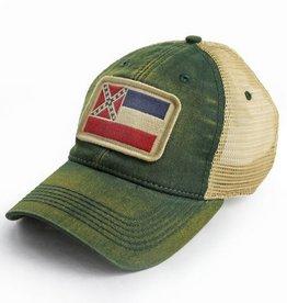 S.L. Revival Co. Mississippi State Flag Trucker Hat, Green