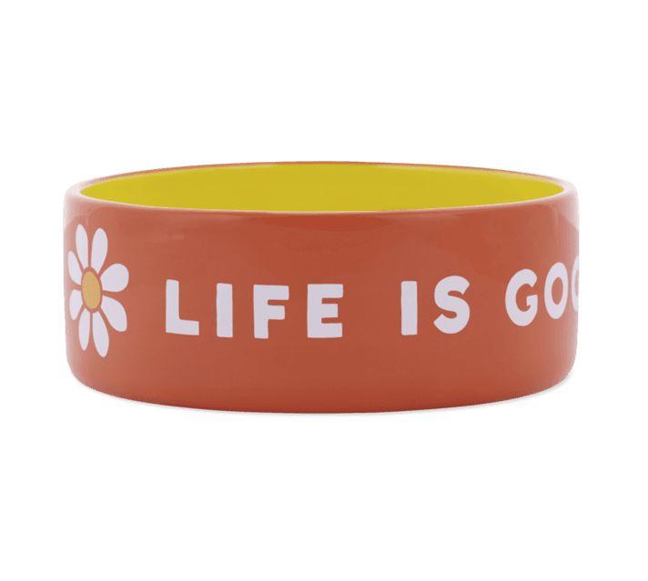 Life is Good 38oz Ceramic Daisy Life Is Good Dog Bowl