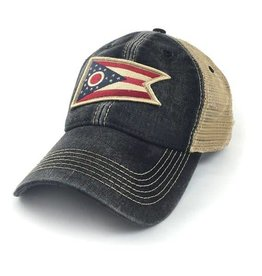 S.L. Revival Co. Ohio Flag Trucker Hat, Black