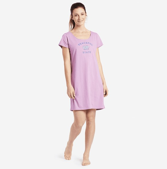 Life is Good W Sleep Tee Dress Peaceful State, Dusty Orchid