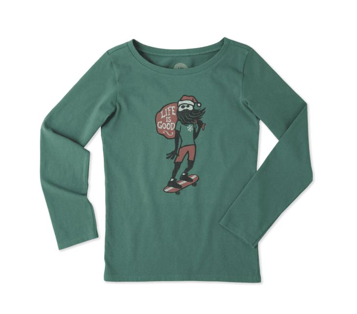 Life is Good G L/S Girls Tee Holiday Skater, Forest Green