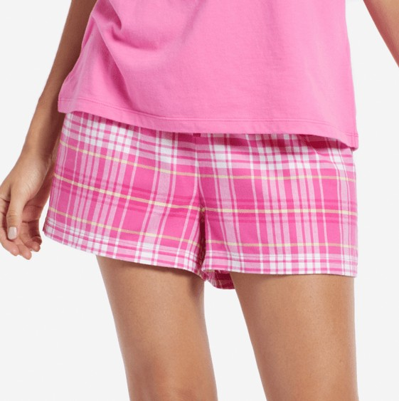 Life is Good W Classic Sleep Plaid Short, Tropical Pink