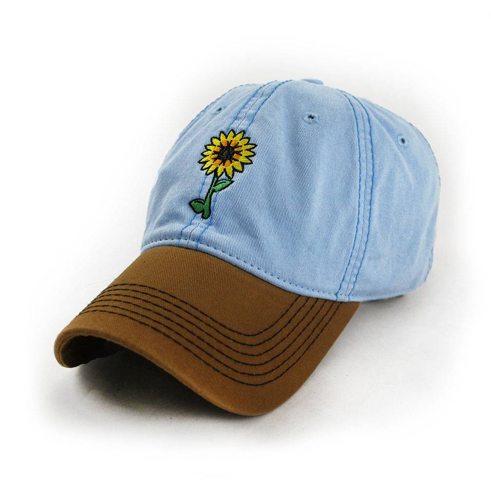 S.L. Revival Co. Sunflowers Make Me Smile Moms Hat, Sky Blue