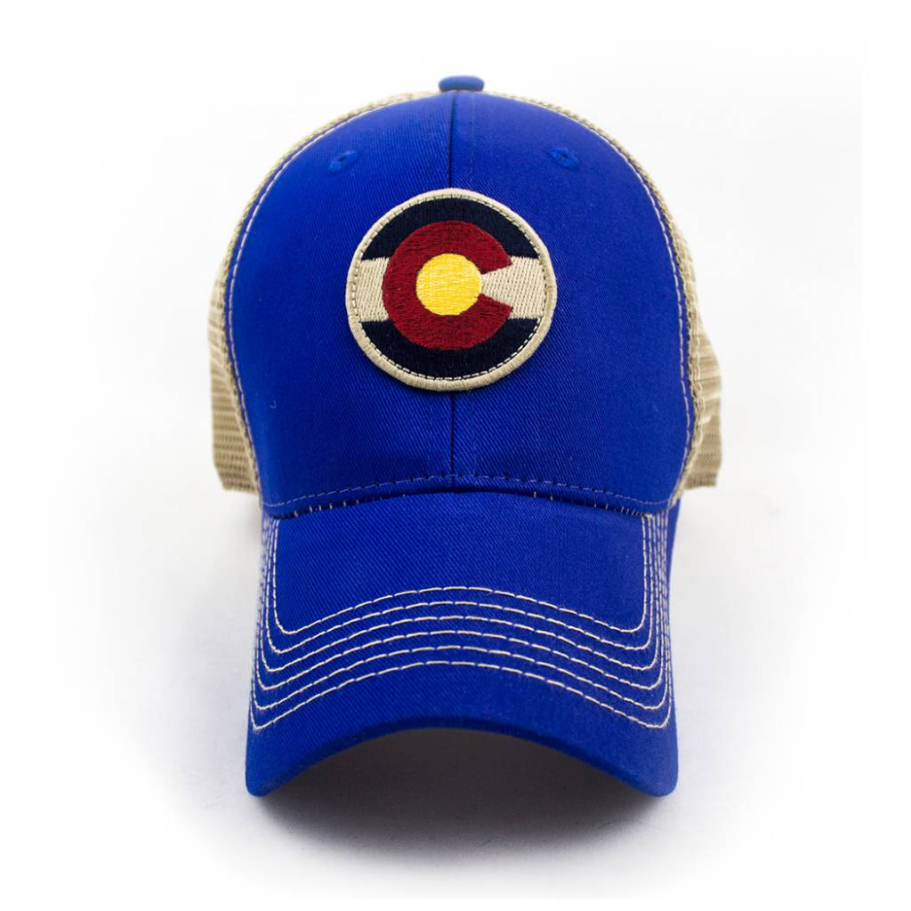 S.L. Revival Co. Colorado Local, Circle Flag Trucker Hat, Structured, Royal Blue