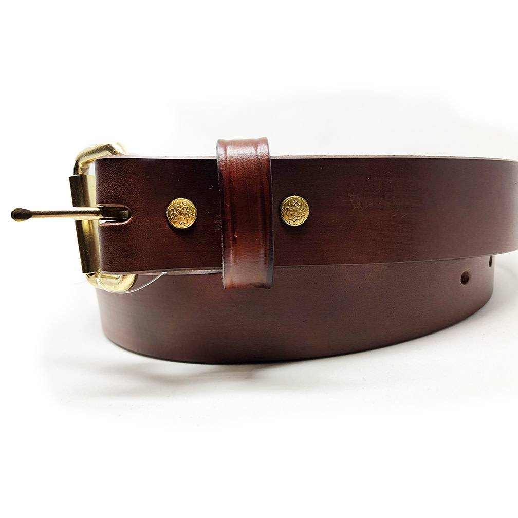Surf, Wind and Fire Men's Leather Belt Brown, Brass Buckle