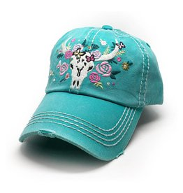 Trailer Trash Love Longhorn Skull Hat, Turquoise Blue