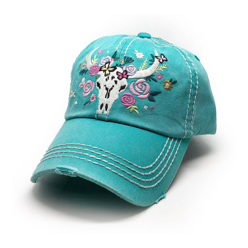 Trailer Trash Love Longhorn Skull Hat, Turquoise Blue