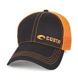 Costa Del Mar Neon Trucker Black Twill with Neon Orange Stitching Offset Logo
