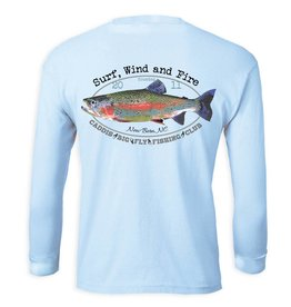 Surf, Wind and Fire Caddis Rainbow Trout Fish Club, L/S, UPF 50, Light Blue