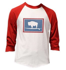 S.L. Revival Co. Surfing Buffalo Baseball Tee, Vintage Red and Heather White