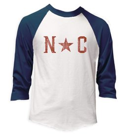 S.L. Revival Co. NC Star Baseball Tee, Vintage Navy and Heather White